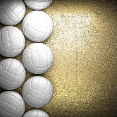Poster Volley ball e il muro sfondo dorato