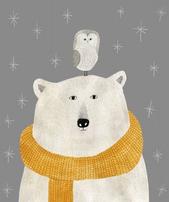 Poster watercolor and pencil drawing of a polar bear with an owl on his head. Christmas illustration