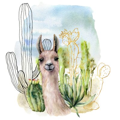 Poster Watercolor and sketch desert landscapes card with lama. Hand painted golden and black mexican cactus, sky and clouds. Botanical illustration isolated on white background for design, print, fabric.