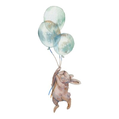 Poster Watercolor bunny with air balloons illustration. Hand painted rabbit fly. Cute animal isolated on white background. Cartoon hare in boho chic style