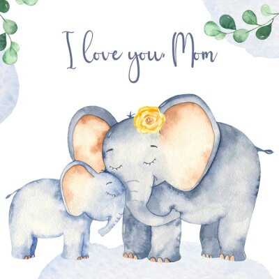 Poster Watercolor card with cute cartoon Mother's Day elephants