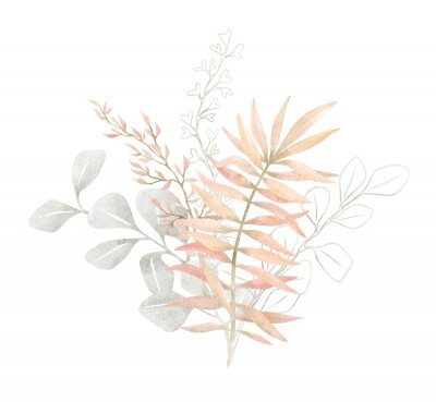 Poster Watercolor composition with plants and leaves in pastel pink color. Aesthetic gently bouquet in boho style with palm leaf, eucalyptus, foliage, nature element. Illustration for wedding, business card.