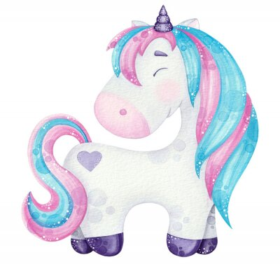 Poster watercolor cute Unicorn illustrations  pink and blue isolated on white
