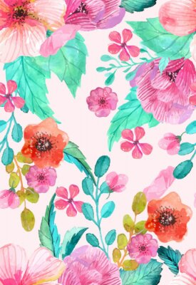 Poster Watercolor floral seamless pattern