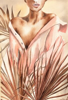 Poster Watercolor illustration.  Beautiful woman or girl in a shirt with dry palm leaves.  African American, African.  Design for cards, paper, weddings, invitations, scrapbooking, poster, invitations