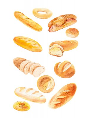 Poster Watercolor illustration of different buns and bread. Isolated on white background