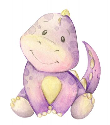 Poster watercolor,  little dinosaur. pink. isolated