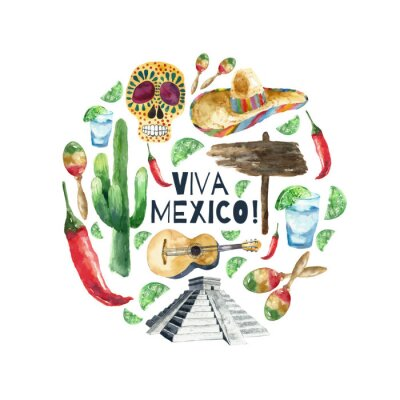 Poster Watercolor mexico icons.