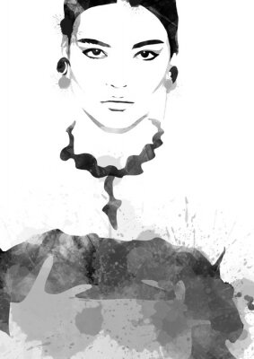 Poster Watercolor painting fashion woman black and white