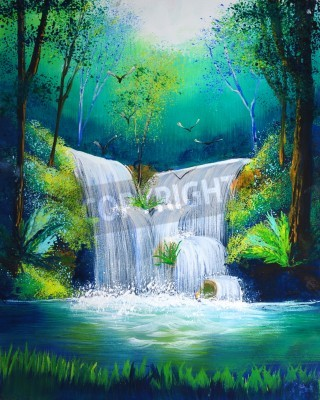 Poster watercolor painting of waterfall