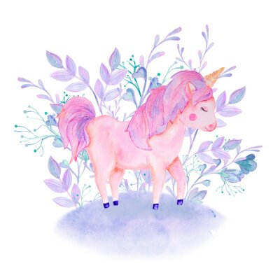 Poster watercolor pink, lilac unicorn composition with flowers