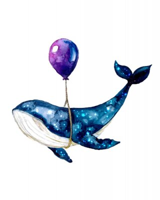 Poster Watercolor sketch blue whale. Illustration isolated on white background for design,print or background. cosmic texture with balloon. Night starry sky with paint strokes and swashes