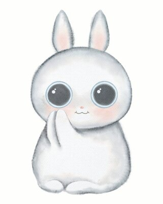 Poster White kawaii cartoon cute little rabbit with big eyes isolated on white background. Watercolor hand drawn illustration