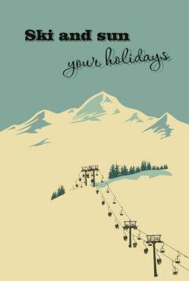 Poster Winter background. Paesaggio montano con impianto di risalita