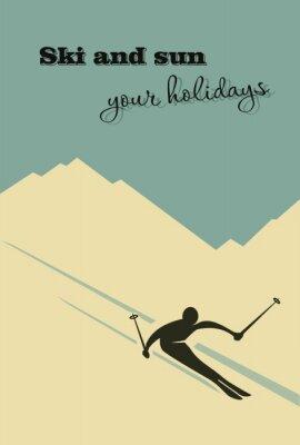 Poster Winter background. Sciatore scivola dalla montagna.