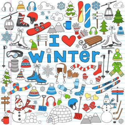 Poster Winter Fun Back to School Notebook Doodles illustrazione vettoriale-