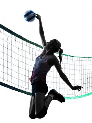 Poster woman volleyball players isolated silhouette