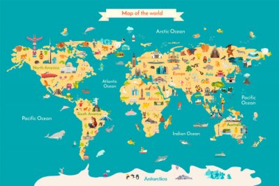 Poster World map vector illustration with landmarks. Travel map with landmarks, animals and sight of country.