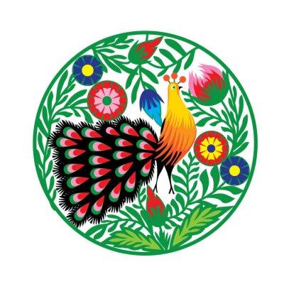 Poster wzór Ludowy z kwiatami i pawiem, łowicki