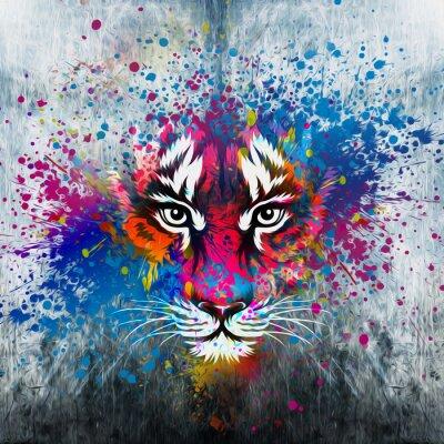 Poster кляксы на стене.фантазия с тигром