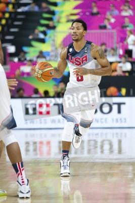 Poster Derrick Rose di Stati Uniti della squadra in azione nella Coppa del Mondo FIBA partita di basket tra Stati Uniti e Messico, punteggio finale 86-63, il 6 settembre 2014, a Barcellona, Spagna