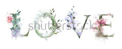 Poster illustrazione dell'acquerello con fiori selvatici, erbe - amore. Stampa raffinata su maglietta. Vintage ▾. lettering
