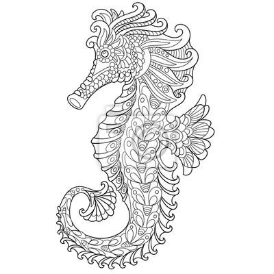 Zentangle Cavalluccio Marino Cartone Animato Stilizzato Isolato