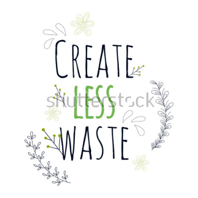 Poster Zero Waste Concept. Hand drawn elements of zero waste life. Zero waste concept card. Good for posters, banners, web design, cards. Vector illustration.