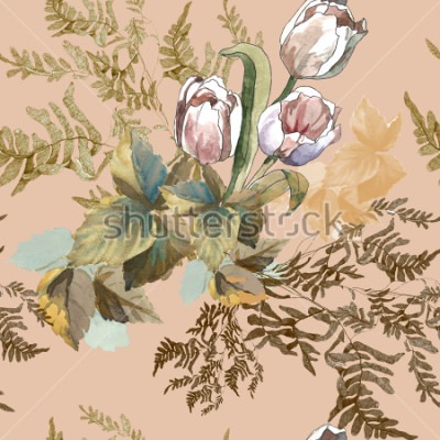 Quadro 3 white tulips and grass watercolor on pink beige background seamless pattern for fabrics, paper