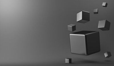 Quadro 3d cubi metallici