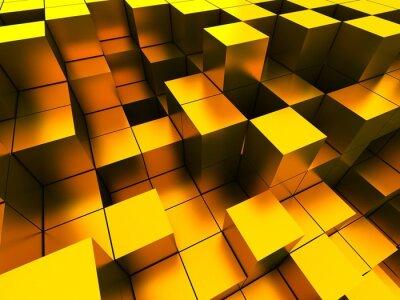 Quadro 3d illustrazione di cubi d'oro