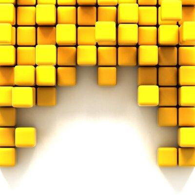 Quadro 3d illustrazione di cubi gialli