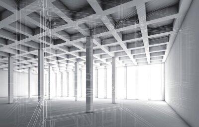 Quadro 3d interno vuoto con effetto fil di ferro