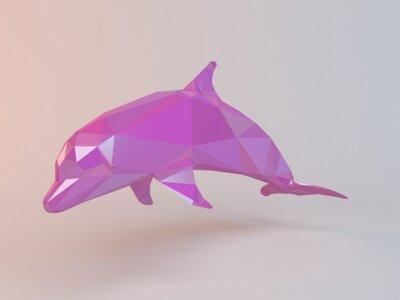 Quadro 3D low poly rosa (delfino) all'interno di uno stadio di bianco, con alta qualità di rendering per essere usato come un logo, medaglia, simbolo, forma, emblema, icona, storia i bambini, o di qualsiasi