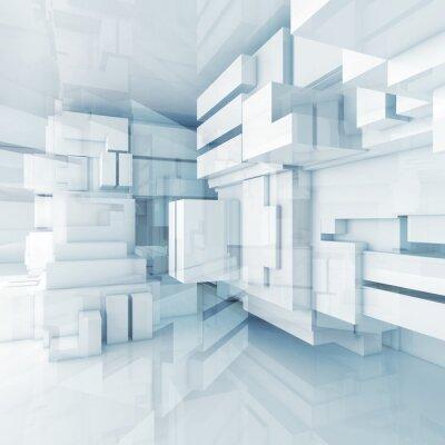 Quadro 3d sfondo blu di alta tecnologia con cubetti di caotici