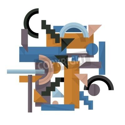 Quadro 3D sfondo geometrico in stile cubista