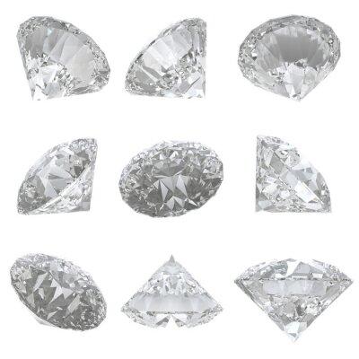 Quadro 9 diamanti incastonati su sfondo bianco - percorso di clipping