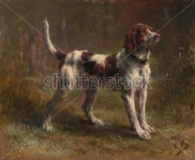 Quadro A BRACCIALETTO LIMIER, di Rosa Bonheur, 1856, pittura francese, olio su tela. Questo era un ritratto della canna del viconte d'arme. Bonheur era un maestro di dipinti animali e il più famoso Eur