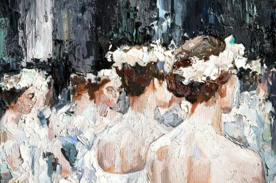 Quadro  A group of beautiful graceful ballerinas in white dresses and with flowers in hair, in the theater are preparing for the performance. Oil painting on canvas.