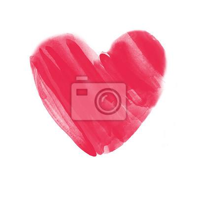 A Mano Acquerello Cuore Rosso Su Sfondo Bianco Per Poster Cartoline