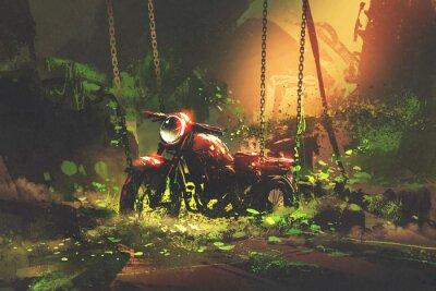 Quadro Abbandonata moto arrugginita in vegetazione ricoperta, stile artistico digitale, pittura illustrazione
