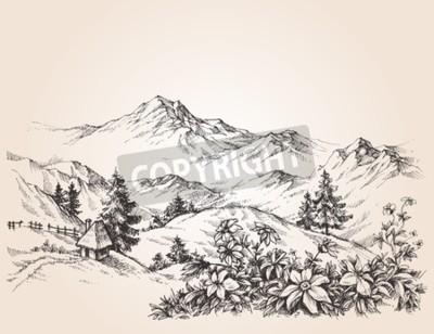 Quadro abbozzo Paesaggio delle montagne