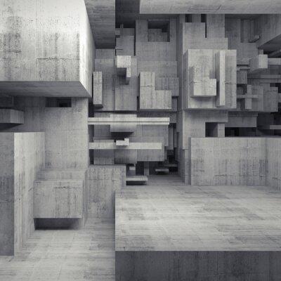 Quadro Abstract 3d interno di calcestruzzo con cubetti caotici