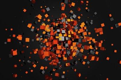 Quadro Abstract 3d rendering di cubi volanti.