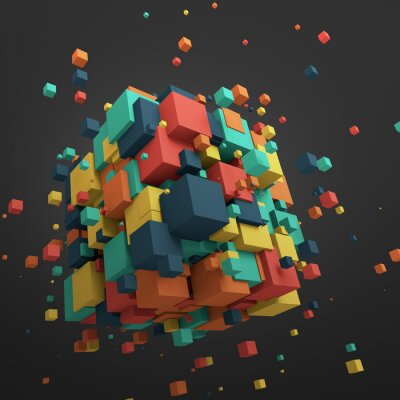 Quadro Abstract 3D Rendering of Flying Cubes.