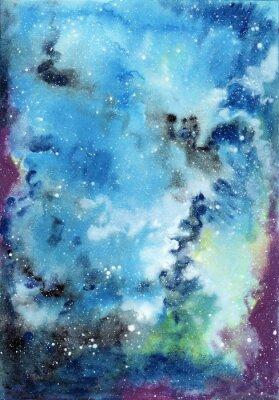 Quadro Abstract background dello spazio acquerello con cielo stellato e nuvole di gas