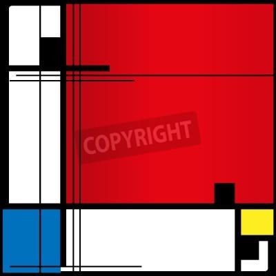 Quadro Abstract background in stile di un cubismo, rosso, blu, quadrati gialli