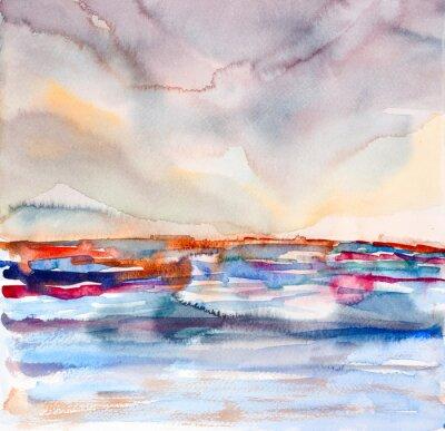 Quadro Abstract colorful paesaggio marino Acquarello dipinto