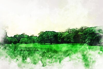 Quadro Abstract colorful shape on tree and field landscape watercolor illustration painting background.