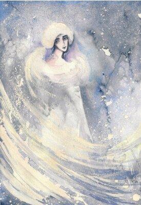 Quadro Abstract illustrazione acquerello raffigurante un ritratto di una donna-inverno